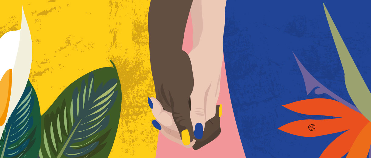 two woman hands | Illustration for CrunchyTales.com by Stefania Tomasich