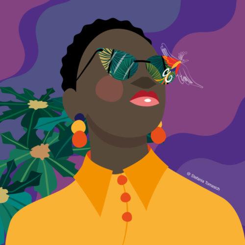 Fashon Black Girl With Glasses