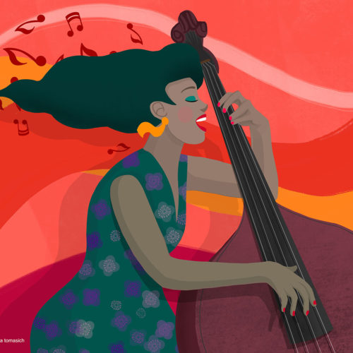 Happy Double Bass Player | By Stefania Tomasich
