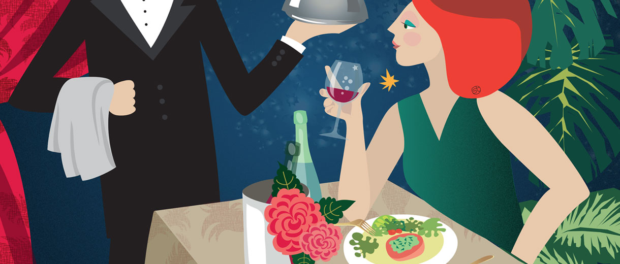Table For One | Illustration For CrunchyTales.com By Stefania Tomasich