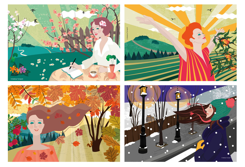 Seasons Illustrations By Stefania Tomasich