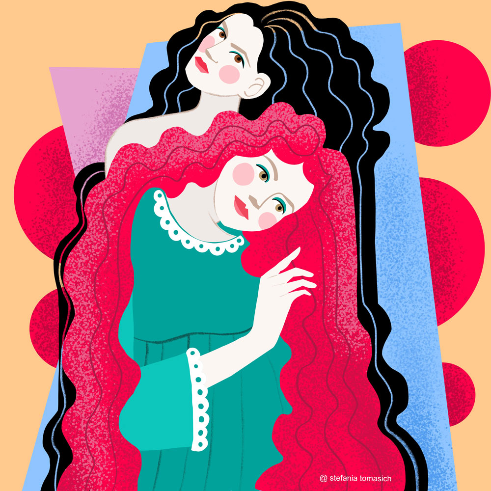 Two women Illustration by Stefania Tomasich